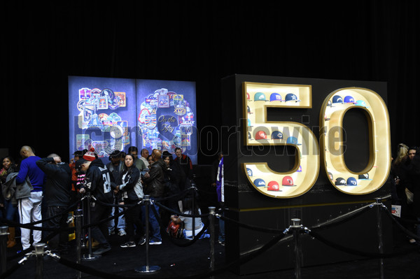 31 January 2016: Two Super Bowl 50 logos  during The NFL Experience for Super Bowl 50 at the Moscone Center in San Francisco, CA.