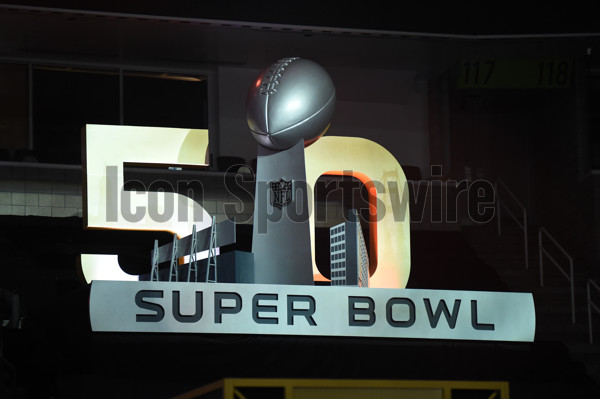 01 February 2016: The Super Bowl 50 logo during the Denver Broncos portion of Super Bowl 50 Opening Night at SAP Center in San Jose, CA.