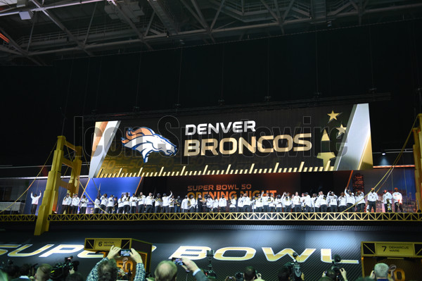 01 February 2016: The Denver Broncos are introduced during the Denver Broncos portion of Super Bowl 50 Opening Night at SAP Center in San Jose, CA.