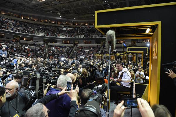 01 February 2016: Denver Broncos Quarterback Peyton Manning (18) [2982] is surround by media during the Denver Broncos portion of Super Bowl 50 Opening Night at SAP Center in San Jose, CA.
