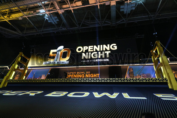 01 FEB 2016:  General view from the floor of the SAP center prior to Super Bowl 50 Opening Night.(Photo by Rich Graessle Icon/Sportswire)