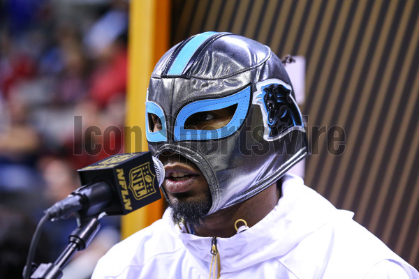 01 FEB 2016:  Carolina Panthers cornerback Josh Norman (24) wears a mask  during Super Bowl 50 Opening Night held at the SAP Center in San Jose California.(Photo by Rich Graessle Icon/Sportswire)