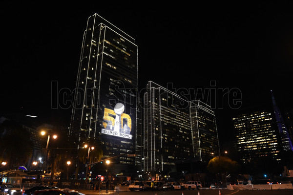 02 February 2016: The Super Bowl 50 logo projected on the side of a building on The Embarcadero as part of the Super Bowl 50 preview in San Francisco, CA.  (Photo by Chris Williams/Icon Sportswire)