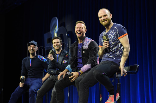 04 February 2016: Members of the band Coldplay (L-R), Jonny Buckland, Guy Berryman, Chris Martin, and Will Champion during the Super Bowl 50 pepsi Halftime Show Press Conference at the Moscone Center in San Francisco, CA. (Photo by Chris Williams/Icon Sportswire)