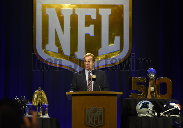 05 February 2016: NFL Commissioner Roger Goodell speaks during his press conference at the Moscone Center in San Francisco, CA. (Photo by Chris Williams/Icon Sportswire)
