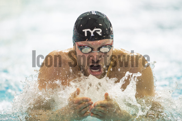 March 03, 2016: Cody Miller competes in the 100m preliminary breaststroke during the Arena Pro Swim Series at the YMCA Aquatic Center in Orlando, FL. (Photograph by Roy K. Miller/Icon Sportswire)