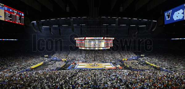 April 4, 2016 - Houston, TX, USA - Tipoff of UNC's game against Villanova in the final of the 2016 NCAA Division I Men's Basketball Championship on Monday, April 4, 2016, at NRG Stadium in Houston(Photo by Ethan Hyman/Zuma Press/Icon Sportswire)