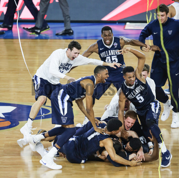 April 4, 2016 - Houston, TX, USA - Villanova players celebrate after beating North Carolina 77-74 to win the NCAA Championship game on Monday, April 4, 2016, at NRG Stadium in Houston (Photo by Steven M. Falk/Zuma Press/Icon Sportswire)