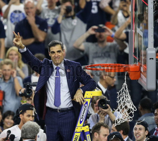 April 4, 2016 - Houston, TX, USA - Villanova head coach Jay Wright waves to the fans after they beat North Carolina 77-74 to win the NCAA Championship game on Monday, April 4, 2016, at NRG Stadium in Houston (Photo by Steven M. Falk/Zuma Press/Icon Sportswire)
