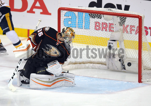 15 Apr. 2016: Anaheim Ducks goalie John Gibson (36) watches the puck shot by Nashville Predators right wing James Neal (18) go in for a goal during the first period of Game 1 in an NHL hockey Stanley Cup playoffs first-round series game played at the Honda Center in Anaheim, CA. (Photo By John Cordes/Icon Sportswire)