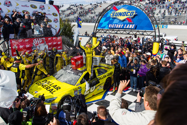 May 15, 2016: Matt Kenseth driver of the #20 Dollar General Toyota climbs out to celebrate after winning the NASCAR Sprint Cup Series AAA 400 Drive for Autism at Dover International Speedway in Dover, DE.