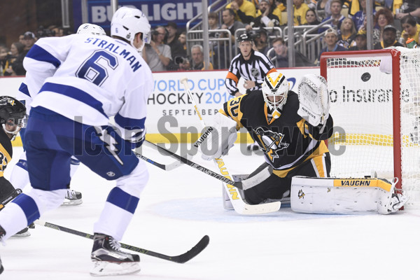 16 May 2016: Tampa Bay Lightning defenseman Anton Stralman (6) scores past Pittsburgh Penguins goalie Matt Murray (30) during the first period of Game Two in the 2016 NHL Stanley Cup Playoffs Eastern Conference Finals between the Tampa Bay Lightning and the Pittsburgh Penguins at the Consol Energy Center in Pittsburgh, Pennsylvania.