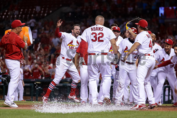 July 23, 2016:  The St. Louis Cardinals wait to celebrate with St. Louis Cardinals First baseman Matt Adams (32) [7766] after his walkoff home run in the sixteenth inning during a baseball game between the Los Angeles Dodgers and the St. Louis Cardinals.  The Cardinals defeated the Dodgers 4-3 in 16 innings at Busch Stadium in St. Louis, MO.  (Photo by Tim Spyers/Icon Sportswire)