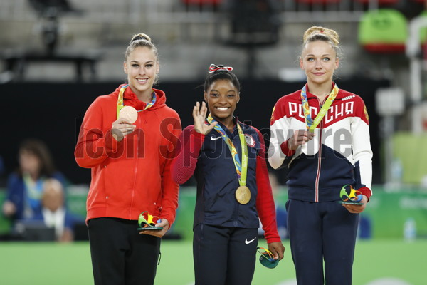 RIO DE JANEIRO, Aug. 14, 2016 Gold medalist Simone Biles (C) of the United States of America, silver medalist Russia's Maria Paseka (R), bronze medalist Switzerland's Giulia Steingruber attend the awarding ceremony for the women's vault of Artistic Gymnastcias at the 2016 Rio Olympic Games in Rio de Janeiro, Brazil, on Aug. 14, 2016. xr (Photo by Xinhua/Imago/Icon Sportswire)****NO AGENTS---NORTH AND SOUTH AMERICA SALES ONLY****NO AGENTS---NORTH AND SOUTH AMERICA SALES ONLY****