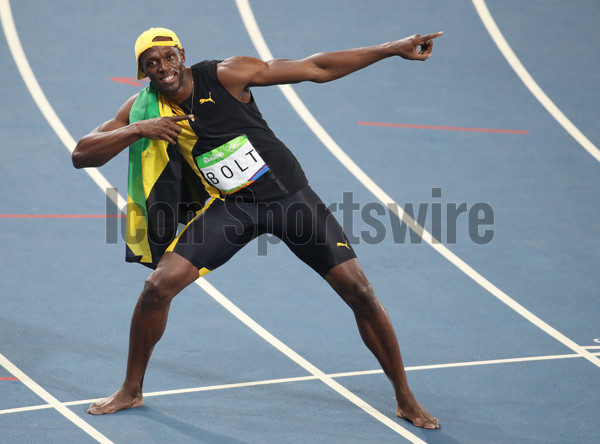 August 14, 2016 - Rio De Janeiro, Brazil - Usain Bolt of Jamaica celebrates after winning the Men's 100m Final of the Athletic, Track and Field events during the Rio 2016 Olympic Games at Olympic Stadium in Rio de Janeiro, Brazil, 14 August 2016.  (Photo by DPA/Zuma Press/Icon Sportswire)
