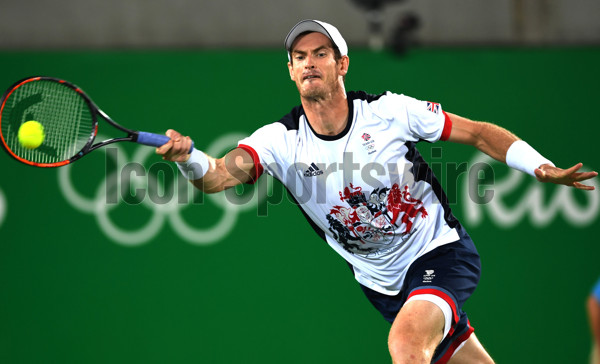 RIO DE JANEIRO, Aug. 14, 2016 Andy Murray of Great Britain competes during the men's tennis singles gold medal match against Juan Martin Del Potro of Argentina at the 2016 Rio Olympic Games in Rio de Janeiro, Brazil, on Aug. 14, 2016. Andy Murray won the gold medal. dh(Photo by Xinhua/Imago/Icon Sportswire)****NO AGENTS---NORTH AND SOUTH AMERICA SALES ONLY****NO AGENTS---NORTH AND SOUTH AMERICA SALES ONLY****