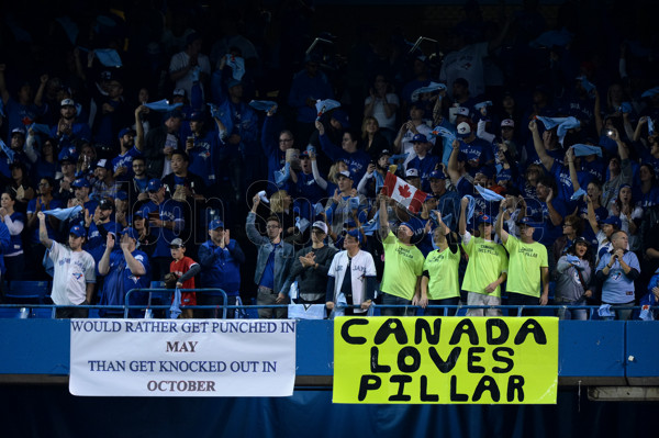 October 9, 2016: Fans wave rally towels during the MLB ALDS Game 3 between the Toronto Blue Jays and the Texas Rangers at Rogers Centre in Toronto, ON, Canada. (Photograph by Julian Avram/Icon Sportswire)