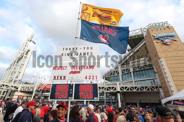 OCT 25, 2016: A Cleveland fans hols up a sign before Game 1 of the 2016 World Series against the Chicago Cubs and the Cleveland Indians at Progressive Field in Cleveland, OH. (Photo by Ian Johnson/Icon Sportswire).