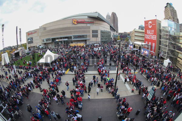 OCT 25, 2016: Fans wait for gates to open before Game 1 of the 2016 World Series against the Chicago Cubs and the Cleveland Indians at Progressive Field in Cleveland, OH. (Photo by Ian Johnson/Icon Sportswire).
