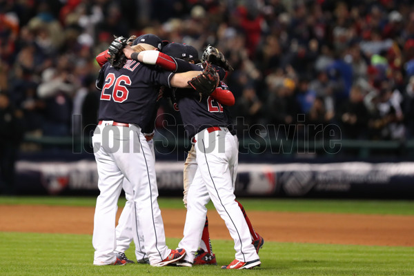 OCT 25, 2016: The Indians infield celebrates after Game 1 of the 2016 World Series against the Chicago Cubs and the Cleveland Indians at Progressive Field in Cleveland, OH. The Indians defeated the Cubs 6-0. (Photo by Ian Johnson/Icon Sportswire).