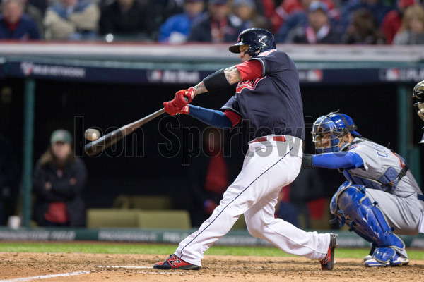 25 October 2016: Cleveland Indians Catcher Roberto Perez (55) blasts a 3-run home run during the eighth inning of the 2016 World Series Game 1 between the Chicago Cubs and Cleveland Indians at Progressive Field in Cleveland, OH. Cleveland defeated Chicago 6-0. (Photo by Frank Jansky/Icon Sportswire)