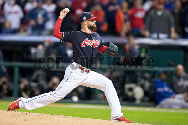 25 October 2016: Cleveland Indians Starting pitcher Corey Kluber (28) delivers a pitch to the plate during the first inning of the 2016 World Series Game 1 between the Chicago Cubs and Cleveland Indians at Progressive Field in Cleveland, OH. Cleveland defeated Chicago 6-0. (Photo by Frank Jansky/Icon Sportswire)