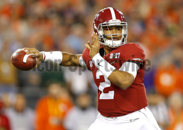 TAMPA, FL - JANUARY 09: Alabama Crimson Tide quarterback Jalen Hurts (2) drops back to pass during first half action of the National Championship game between the Alabama Crimson Tide and Clemson Tigers on January 9, 2017, at Raymond James Stadium in Tampa, FL. (Photo by Todd Kirkland/Icon Sportswire)