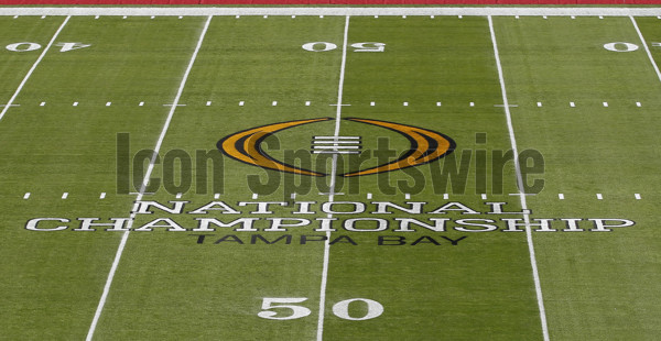 TAMPA, FL - JANUARY 09: The 2017 College Football National Championship log on the 50-Yard Line of Raymond James Stadium for the game between the Clemson Tigers and Alabama Crimson Tide on January 9, 2017, at Raymond James Stadium in Tampa, FL. (Photo by Mark LoMoglio/Icon Sportswire)