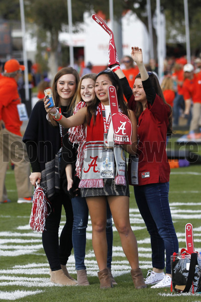 TAMPA, FL - JANUARY 09: Alabama Crimson Tide fans take a selfie at the national championship tailgate before the 2017 College Football National Championship Game between the Clemson Tigers and Alabama Crimson Tide on January 9, 2017, at Raymond James Stadium in Tampa, FL. (Photo by Mark LoMoglio/Icon Sportswire)