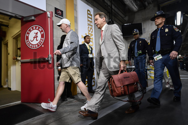 TAMPA, FL - JANUARY 09: University of Alabama head coach Nick Saban arrives to the stadium prior to the CFP National Championship game between the Alabama Crimson Tide and the Clemson Tigers on January 09, 2017, at Raymond James Stadium in Tampa, FL. (Photo by Roy K. Miller/Icon Sportswire)