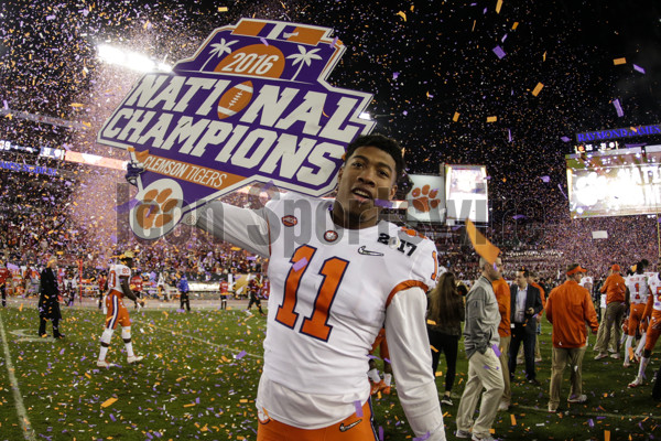 TAMPA, FL - JANUARY 09: Clemson Tigers tight end Shadell Bell (11) celebrates after the College Football Playoff National Championship game between the Alabama Crimson Tide and the Clemson Tigers on January 9, 2017, at Raymond James Stadium in Tampa, FL. Clemson won the game 35-31. (Photo by David Rosenblum/Icon Sportswire)