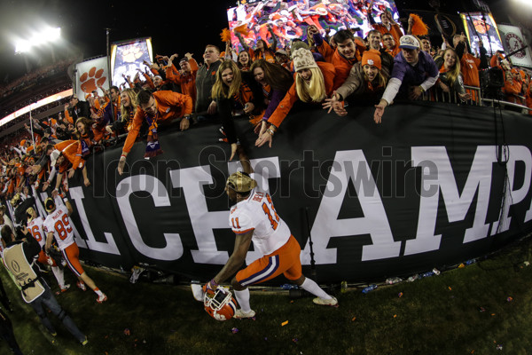 TAMPA, FL - JANUARY 09: Clemson Tigers tight end Shadell Bell (11) celebrates with fans after the College Football Playoff National Championship game between the Alabama Crimson Tide and the Clemson Tigers on January 9, 2017, at Raymond James Stadium in Tampa, FL. Clemson won the game 35-31. (Photo by David Rosenblum/Icon Sportswire)