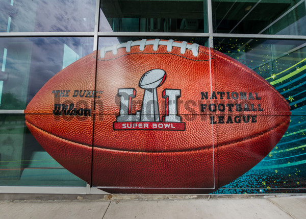 HOUSTON, TX - FEBRUARY 05:  The Super Bowl LI football is featured at the West entrance at the Super Bowl LI between the New England Patriots and Atlanta Falcons on February 5, 2017 at NRG Stadium in Houston, Texas. (Photo by Leslie Plaza Johnson/Icon Sportswire)