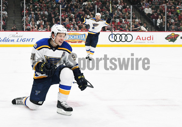 ST. PAUL, MN - APRIL 22: St. Louis Blues Right Wing Vladimir Tarasenko (91) celebrates his 1st period goal during game 5 of the NHL Western Conference Quarter Final between the Minnesota Wild and the St. Louis Blues at the Xcel Energy Center in St. Paul, MN on April 22, 2017. (Photo by Nick Wosika/Icon Sportswire)
