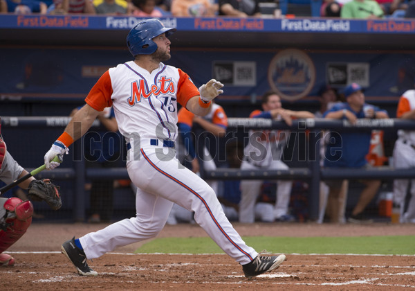 PORT ST. LUCIE, FL - JUNE 28: St. Lucie Mets Outfielder Tim Tebow (15) hits a two run home run  during the second game of a double header MLB minor league baseball game between the Palm Beach Cardinals and the St. Lucie Mets at the First Data Field in Port St. Lucie, Florida on June 28, 2017. (Photo by Doug Murray/Icon Sportswire)