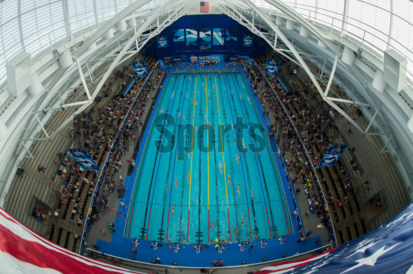 INDIANAPOLIS, IN - JUNE 28: The Interior of the IUPUI Natatorium as the swimmers warm up before the USA Swimming National Championships on June 28, 2017, at the Indiana University Natatorium in Indianapolis, IN. (Photo by Zach Bolinger/Icon Sportswire)