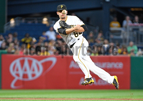 PITTSBURGH, PA - JUNE 28:  Pittsburgh Pirates second baseman Max Moroff #62 throws to first base for a force out of Tampa Bay Rays right fielder Steven Souza Jr. #20 in the fifth inning during the game at PNC Park on June 27, 2017 in Pittsburgh, Pennsylvania. (Photo by Justin Berl/Icon Sportswire)
