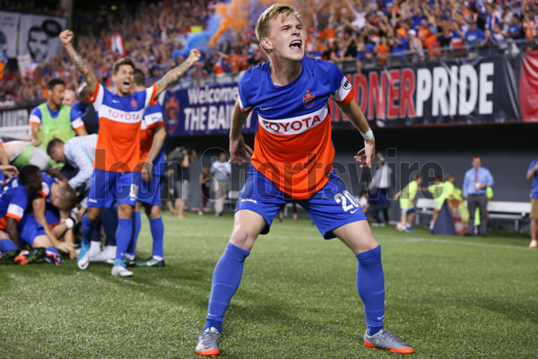 CINCINNATI, OH - JUNE 28: FC Cincinnati midfielder Jimmy McLaughlin (20) celebrates after the match between the Chicago Fire SC and FC Cincinnati on June 28th 2017, at Nippert Stadium in Cincinnati OH. FC Cincinnati won 3-1 in a penalty kick shootout. (Photo by Ian Johnson/Icon Sportswire)