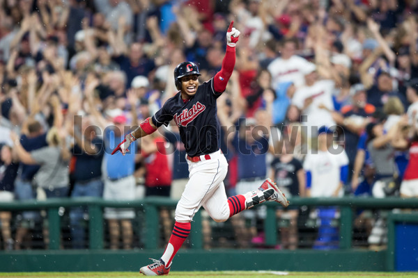 CLEVELAND, OH - JULY 22: Cleveland Indians shortstop Francisco Lindor (12) celebrates after hitting a game-winning home run during the tenth inning of the Major League Baseball game between the Toronto Blue Jays and Cleveland Indians on July 22, 2017, at Progressive Field in Cleveland, OH. Cleveland defeated Toronto 2-1 in 10 innings. (Photo by Frank Jansky/Icon Sportswire)